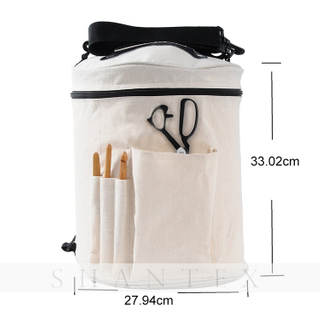 Durable Canvas Large Space Wool Yarn Storage Knitting Crochet Storage Bag with Needle Case