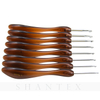 8pcs/set Acrylic Curved Aluminium Metal Crochet Hook Brown Knitting Needles Weaving Pins DIY Crafts Brown