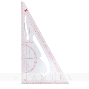 Multi-purpose Scale Right Angle Triangle Triangular Plastic Drawing Ruler with Protractor